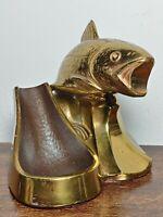 Vintage Metal Fisherman Fish Bass Pipe Holder Stand Tobacco Smoking Rare
