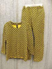 One of a Kind Vtg 60s 70s Groovy Yellow & Black Knit Top & Pants Set Sz S Hippy