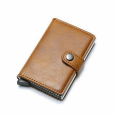 Men's Leather Wallet Credit Card Holder RFID Protector Money L. BROWN NYP A21