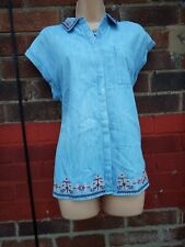 Denim Chambray Shirt Top cotton summer Embroidered Aztec Festival Size 12