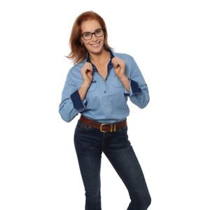Pentecost River Denim Blue Womens Half Button Work Shirt Ringers Western