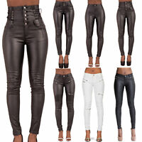 WOMEN HIGH WAIST LEATHER LOOK TROUSERS LADIES WET LOOK JEANS SIZE 6 8 10 12 14