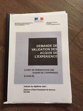 LIVRET 2  VALIDE VAE ASSISTANTE DE SERVICE SOCIALE *ENVOI IMMEDIAT DèS PAIEMENT