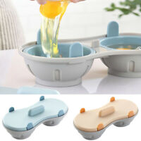 Microwave Perfect Eggs Poacher BPA Free Cookware Double Cup Egg Cooker Steamer