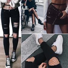 Women's Black Fishnet Mini Diamond Net Stockings Punk Goth Full Pantyhose Tights