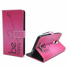 Schutz Hülle für Xiaomi Redmi Note 3 Be Happy Pink Tasche Cover Leder-Imitat Neu