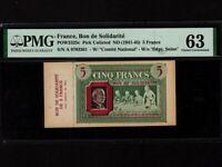 France:P-POW2325c,10 Francs,1941-5 * Bon de Solidarite * WWII * PMG Ch. UNC 63 *