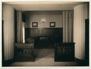 Large vintage silver print photo 1930c Interior of a bank Baryte paper
