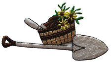 #4163 Shovel for Garden and Yellow Flower Embroidery Iron On Applique Patch