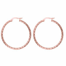 Diamond Cut Out Filigree Hoop Earrings Real 14K Rose Pink Gold 1 1/4""