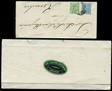 SPAIN 1876 WAR TAX + 10c SANTANDER to RIVADEO...OVAL SEAL BUSTAMANTE