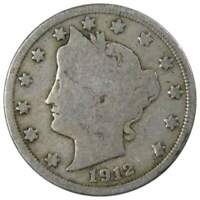 1912 Liberty Head V Nickel 5 Cent Piece G Good 5c US Coin Collectible