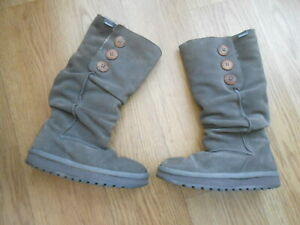 SKECHERS  GREY SUEDE  HIGH TOP BOOTS  SIZE UK 2