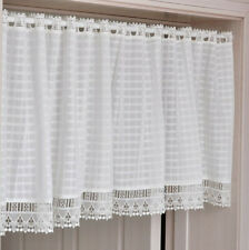 White Plaid Cafe Curtain Window Curtain Lace Caffee Valance Tassels for Curtains