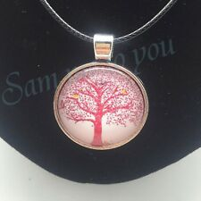 Necklace or Key Ring New Jewellery Uk Fast Tree Of Life in Pink Glass Pendant &