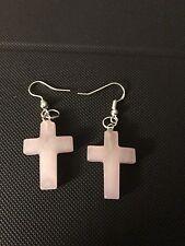 ROSE QUARTZ Gemstone Cross Earrings