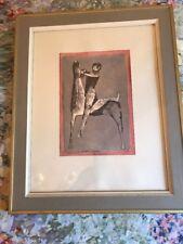 Mazilo 1953 Primitive Print Man Riding A Horse  Framed Rare