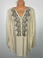 WOMENS MARKS & SPENCER UK 20 IVORY PART BUTTONED EMBROIDERED SHIRT BLOUSE TOP
