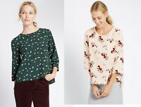 M&S Marks Spencer Pink Green Floral Round Neck 3/4 Sleeve Top Blouse 10 12 14 16