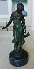 SOLID BRONZE REPRODUCTION STATUE BAREFOOT GIRL IN LONG DRESS BRANCH MARBLE BASE