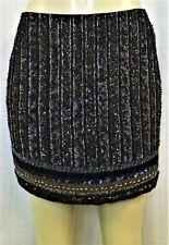 Authentic Sachin + Babi Sz. 10 Black Sequin & Bead Embellished Skirt $700