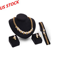 4PCS Women's Gold Wedding Jewelry Set Indian Necklace Bracelet Earring Ring Sets