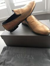 $1,259 Alexander McQueen Bronze Leather Studded Loafers Shoes - Made In Italy