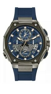 New Bulova Precisionist Two Tone Chronograph Strap With Blue Dial Watch 98B357