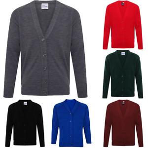 Girls Childrens Kids Knitted School Uniform Cardigan Long Sleeve Button Sweater