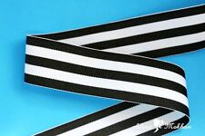 "5 yards 5/8"" Black White Taffy Stripes Woven Grosgrain Ribbon"