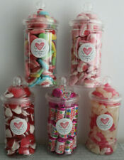 VICTORIAN VALENTINE SWEET JARS FILLED WITH TRADITIONAL  RETRO SWEETS 60 VARITIES