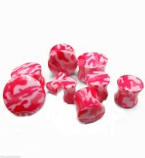 "PAIR-Camouflage Pink Acrylic Double Flare Plugs 12mm/1/2"" Gauge Body Jewelry"