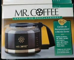 Mr. Coffee PD15 10-12 Cup Replacement Glass Decanter Carafe Pot w/ Gold Trim NEW