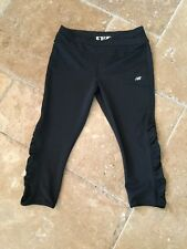 New Balance Black Cropped Leggings w/ Crossover Waistband Ruched Legs Sz M