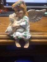 VTG Gorgeous Cherub Cute Girl Angel Figurine With Dog - Gold Accent