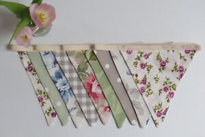 New farmhouse vintage shabby chic contemporary double sided fabric bunting flora