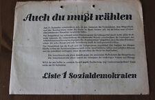 Alter Wurfzettel / Wahlwerbung SPD / Auch Du mußt wählen! 1920/30