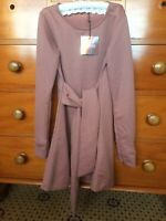 Women's Mauve Pink Tied Long Sleeved Mini Sweater Dress - Missguided - Size: 4