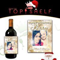 Personalised Christmas photo wine bottle label