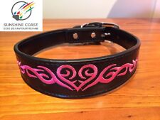 LEATHER DOG COLLAR BLACK PINK HEART TATTOO EMBROIDERED EMBROIDERY S M L XL