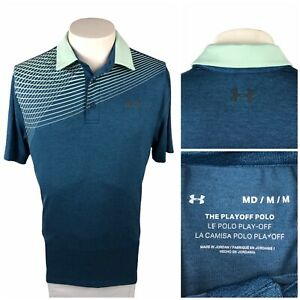Under Armour Mens Medium Playoff Polo Striped Green Polyester Blend Stretch EUC