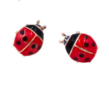 Cute Ladybird Stud Earrings ~ Red Ladybug Beetle Earrings Studs