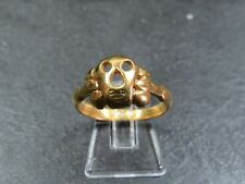VINTAGE / ANTIQUE ELIZABETHAN STYLE MEMENTO MORI 9ct GOLD RING