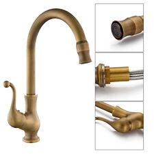 Kitchen Taps Faucet Antique Brass Swivel Spout Single Handle Sink Mixer Tap US