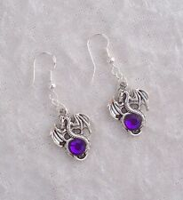 Tibetan Silver Dragon,Purple Diamante Earrings,925 Silver Hook.Handmade