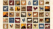 BOUNTIFUL~QT FABRIC PANEL~SMALL squares~cow, farm, barn, chicken~25977E~ECRU