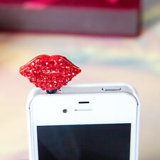 Bling Red Sexy Lips Anti Dust Plug for iPhone4s,5&3.5mm Earphone Jack Cell Phone