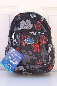 Hawaiian Hibiscus Turtle Print School Travel Beach Hiking Backpack BLACK EX-7045