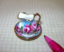 Miniature Ni-Glo Pitcher and Basin (Set #3) with Gold Accents: DOLLHOUSE 1/12