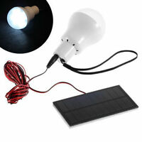 Portable Solar Panel Power LED Light Bulb Lamp for Outdoor Camp Tent Fishing 20W